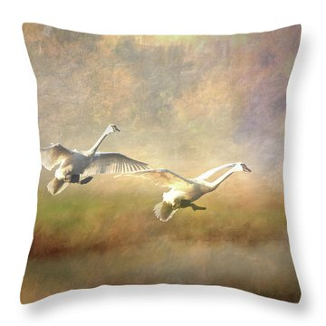 Throw Pillow featuring the photograph Trumpeter Swan Landing - Painterly by Patti Deters