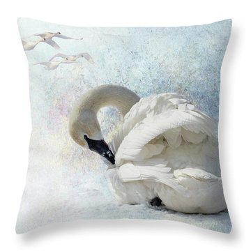 Throw Pillow featuring the photograph Trumpeter Textures #2 - Swan Preening by Patti Deters