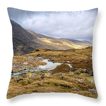Tryfan And Pen Yr Ole Wen Mountain Snowdonia Throw Pillow