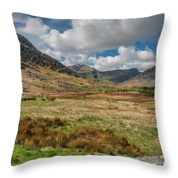 Tryfan And The Ogwen Valley Snowdonia  Throw Pillow
