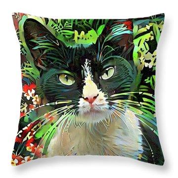 Tucker The Tuxedo Cat Throw Pillow
