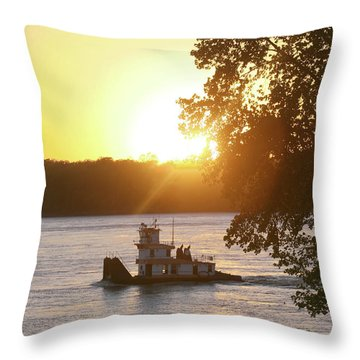 Tugboat On Mississippi River Throw Pillow