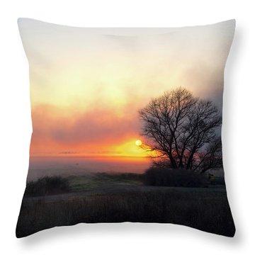Tule Fog Sunrise  Throw Pillow