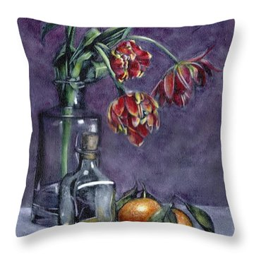 Tulips And Oranges Throw Pillow