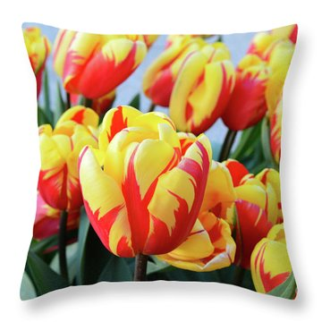 Tulips And Tiger Stripes Throw Pillow
