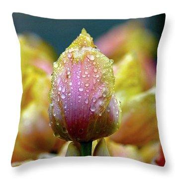 Tulips In The Rain Throw Pillow
