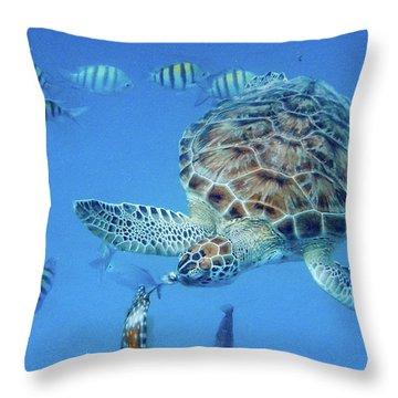 Turning Turtle Throw Pillow