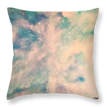 Turquoise Cosmic Cloud Throw Pillow