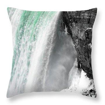 Turquoise Falls Throw Pillow