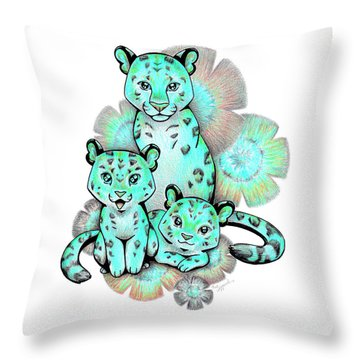 Turquoise Leopards Throw Pillow