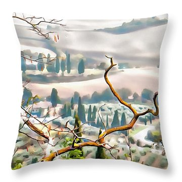 Throw Pillow featuring the photograph Tuscan Autumn Landscape by Dorothy Berry-Lound