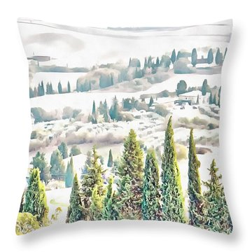 Throw Pillow featuring the photograph Tuscan Countryside Near Pienza by Dorothy Berry-Lound