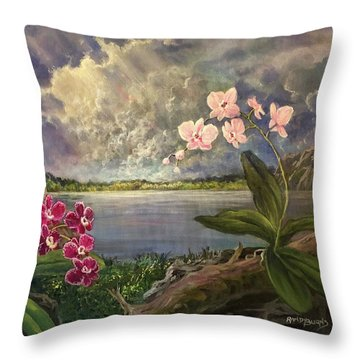 Twilight Orchids Throw Pillow