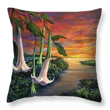 Twilight Trumpets Throw Pillow