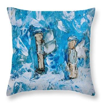 Twin Boy Angels Throw Pillow