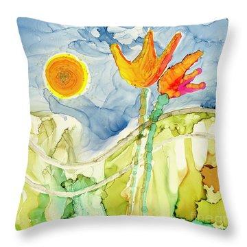 Twin Tulips Throw Pillow