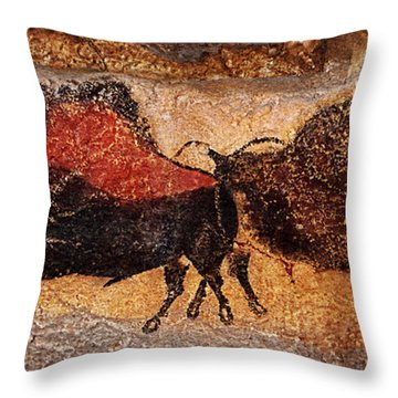 Two Bisons Running Throw Pillow