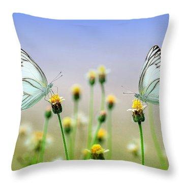 Two Butterflies Throw Pillow