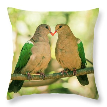Two Colourful Doves Resting Outside On A Branch. Throw Pillow