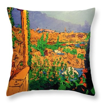 Throw Pillow featuring the painting Spritz On The Terrace by Ray Khalife
