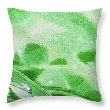 Two Dew Drops Green Watercolor Throw Pillow