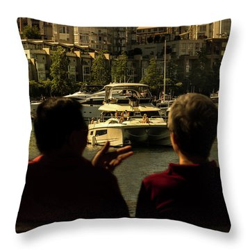 Two Friends At The Vancouver Bay Throw Pillow