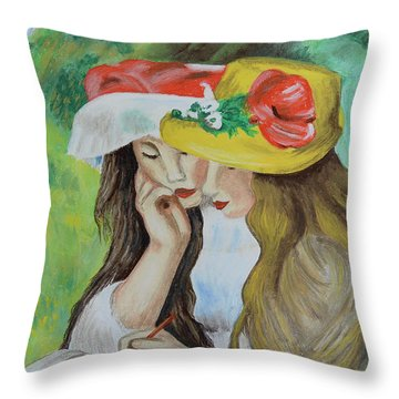 Throw Pillow featuring the pastel Two Girls After Renoir by Howard Bagley