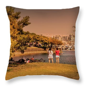 Throw Pillow featuring the photograph Two Girls by Juan Contreras