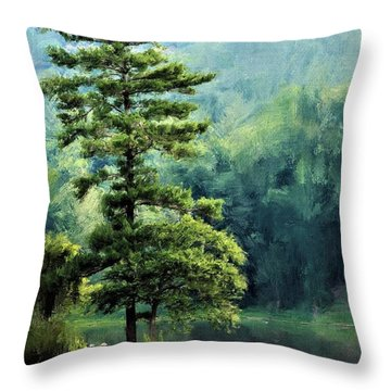 Two Guys And A Pond Throw Pillow