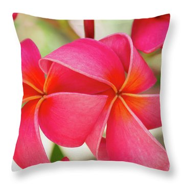 Throw Pillow featuring the photograph Two Pink Plumeria Flowers by Charmian Vistaunet
