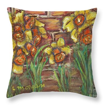 Two Toned Daffodils Throw Pillow