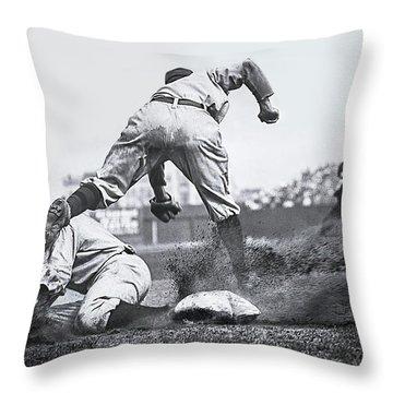 Ty Cobb Steals 3rd Base 1910 Throw Pillow