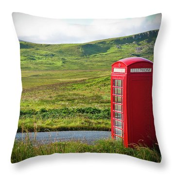 Typical Red English Telephone Box In A Rural Area Near A Road. Throw Pillow