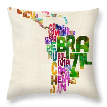 Typography Map Of Latin America, Mexico, Central And South America Throw Pillow
