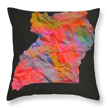 Uganda Tie Dye Country Map Throw Pillow