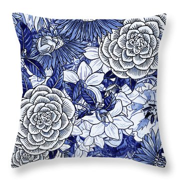Ultramarine Blue Watercolor Botanical Flowers Garden Pattern II Throw Pillow