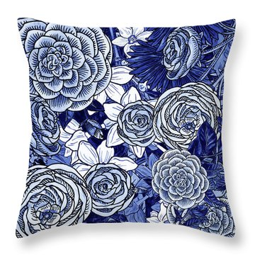 Ultramarine Blue Watercolor Botanical Flowers Garden Pattern Iv Throw Pillow