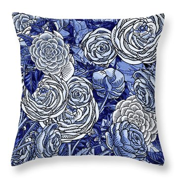 Ultramarine Blue Watercolor Botanical Flowers Garden Pattern V Throw Pillow