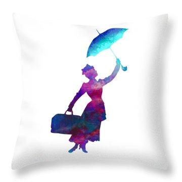 Throw Pillow featuring the digital art Umbrella Lady by David Millenheft