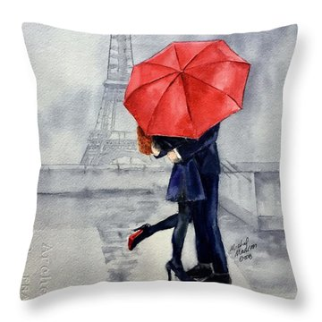 Throw Pillow featuring the painting Under A Red Umbrella by Michal Madison