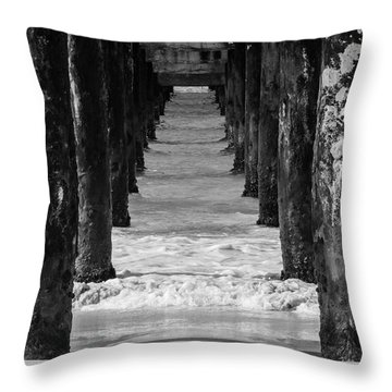 Under The Pier #2 Bw Throw Pillow