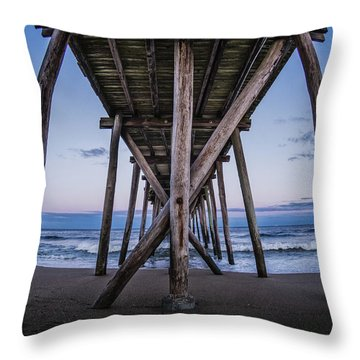 Throw Pillow featuring the photograph Under The Pier by Steve Stanger