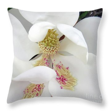 Unfolding Beauty Of Magnolia Throw Pillow
