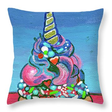 Unicorn Cupcake Throw Pillow