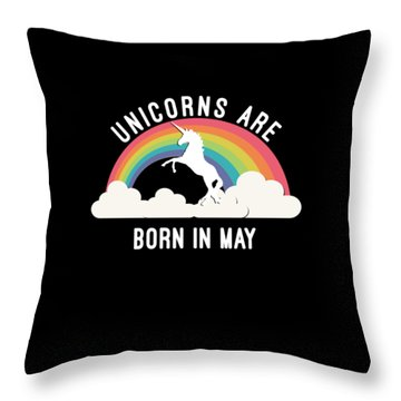 Throw Pillow featuring the digital art Unicorns Are Born In May by Flippin Sweet Gear