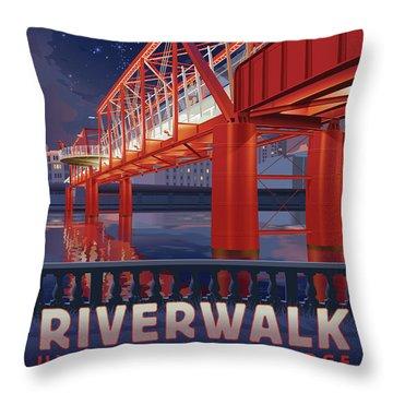 Union Railroad Bridge - Riverwalk Throw Pillow