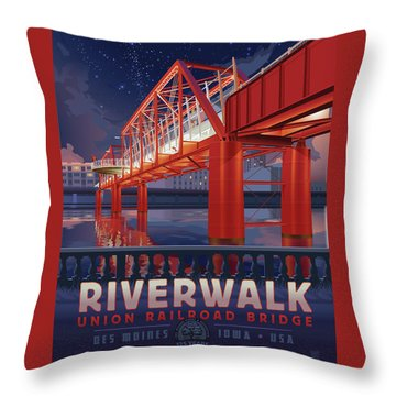 Union Railroad Bridge - Riverwalk Throw Pillow