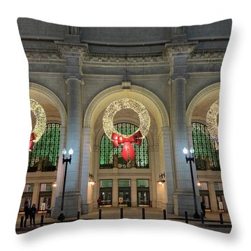 Union Station Holiday Throw Pillow