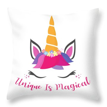 Unique Is Magical - Baby Room Nursery Art Poster Print Throw Pillow