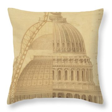 United States Capitol, Section Of Dome, 1855 Throw Pillow